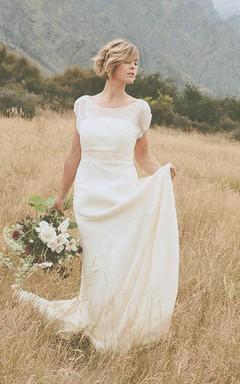Belle Crinkle Silk Low Back Wedding In Dark Ivory Size 10 Dress