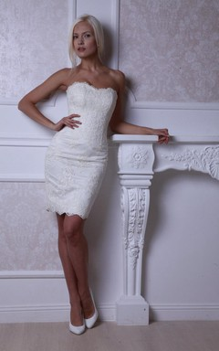 Short Fitted Lace Wedding Dress With Lace-Up Back