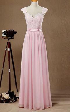 Cap Sleeve Chiffon&Lace&Satin Dress