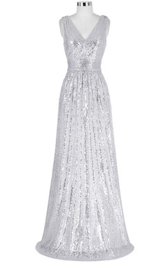 V-neck Sleeveless A-line Sequins Dress With Pleats