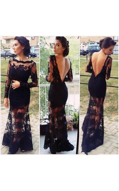 Trumpet Mermaid Bateau Long Sleeves Applique Sweep Brush Train Lace Dresses