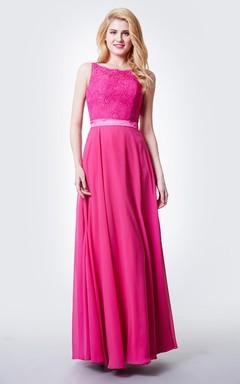 Chic Jewel Neck Long Chiffon Dress With Lace Bodice