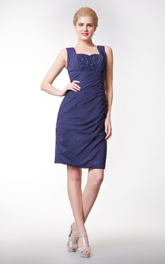Modern Chiffon Short Sheath Dress With Lace and V-back