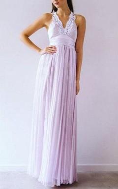 Sheath Floor-Length Chiffon Dress With Lace V Neck