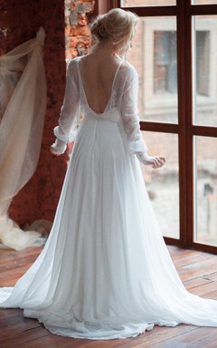 Plunged Lace Illusion Long Puff Sleeve Chiffon Wedding Dress With Sweep Train