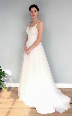 Spaghetti Sleeveless A-Line Tulle Chiffon Backless Wedding Dress With Sweep Train