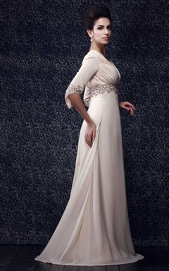 Plunged Beaded Floor-Length Dress With V-Back Design