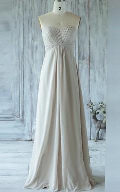 Empire Long Strapped Sweetheart Empire Chiffon&Lace Dress