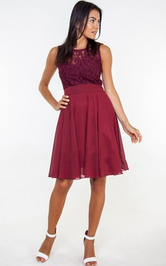 Chiffon&Lace&Satin Dress With Flower
