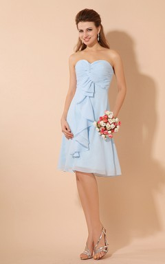 Simple Sweetheart Sleeveless Midi Dress With Crisscross Ruching