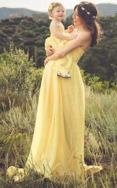 Yellow Chiffon Jersey Girl Children Gown Matching To Chiffon Maternity Gown Dress