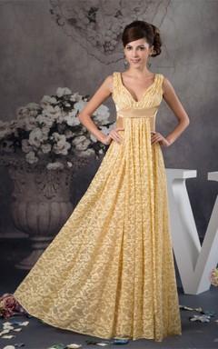 Deep-V-Neck Sleeveless Sheath Dress with Lace and Pleats