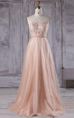 Floor-length Strapped Sweetheart Tulle Dress With Beading&Flower&Embroideries