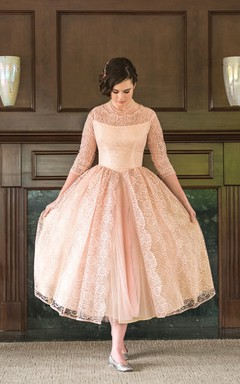 Refined Tea-length A-line Lace Dress With 3/4 Length Sleeves