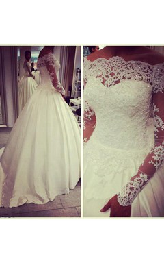Glamorous Off-the-shoulder Long Sleeve Wedding Dress With Beadings Appliques