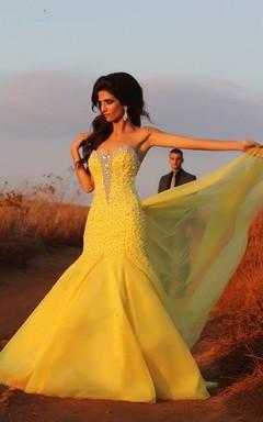 Glamorous Mermaid Yellow Evening Dress Beadings Sweep Train