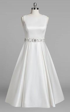 Jewel Neck Sleeveless A-Line Tea-Length Satin Wedding Dress With Beading