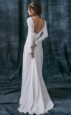Jewel-Neck Sheath Floor-Length Dress With Appliques And Deep-V Back
