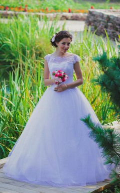 Bateau Neck Cap Sleeve Tulle Ball Gown With Lace Bodice