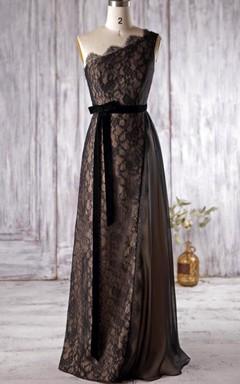 Long One-shoulder Chiffon&Lace Dress