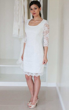 Short Mini Satin Lace Zipper Wedding Dress