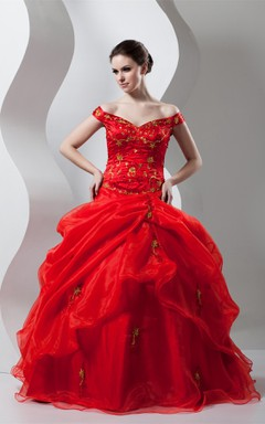 Off-The-Shoulder Pick-Up Ball Gown with Beading and Embroideries