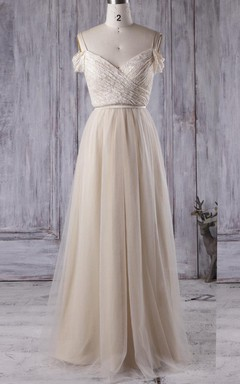 A-line Floor-length Off-the-shoulder Sweetheart Tulle&Lace Dress