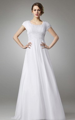Short Sleeve Empire Chiffon Wedding Dress