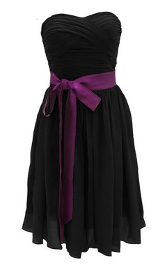 Strapless Ruched Dress WIth Satin Sash and Drapping