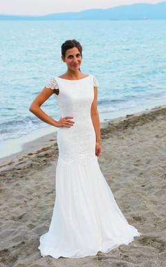 Mermaid Cap Sleeve Long Wedding Dress With Cap Sleeves