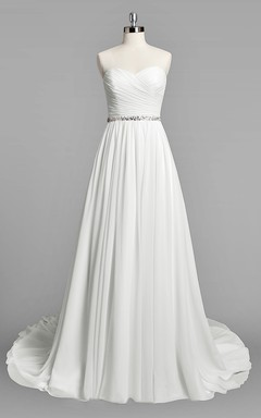 Sweetheart A Line Chiffon Wedding Dress With Ruching And Beading