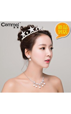 Bride Wedding White Wedding Headdress Five - Pointed Star Shell Pearl Crown Micro - Inlaid Zircon Necklace