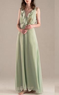 Floor-length V-neck Chiffon Dress With Ruffles