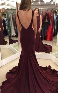 Sleeveless Bateau Neck Long Jersey Dress With Deep V Back
