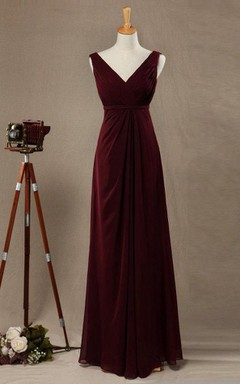 2016 V-neck Burgundy Bridesmaid Dress