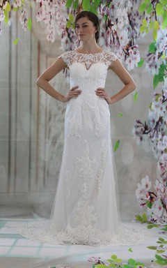 Jewel Neck Cap Sleeve Sheath Appliqued Wedding Dress With Sheer Back