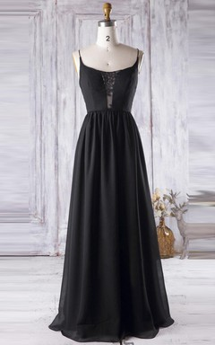 A-line Floor-length Spaghetti Strapped Backless Chiffon&Lace Dress