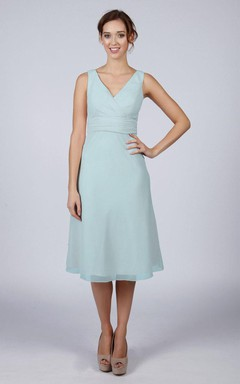 Light Blue Classic Short Bridesmaid/Prom Dress