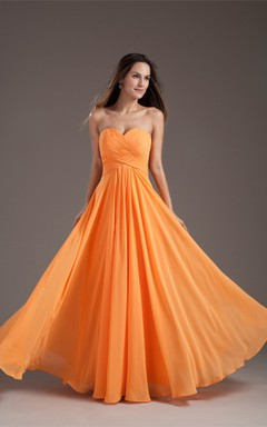 Sweetheart Criss-Cross Chiffon Maxi Gown with Pleats