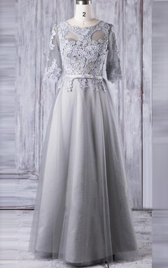 A-line Floor-length Tulle&Lace Dress With Illusion