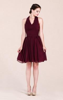 Halter Empire Knee-length Bridesmaid Dress