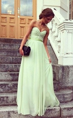 A-Line Princess Sweetheart Pleats Sleeveless Floor-Length Chiffon Prom Dresses