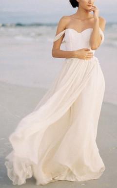Off-the-shoulder Chiffon&Lace&Taffeta&Charmeuse Dress