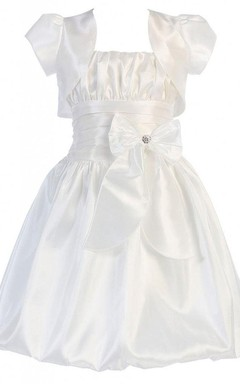 Sleeveless A-line Taffeta Dress With Detachable Jacket