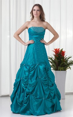 Strapless Beaded Pick-Up Gown with Buckle and Ruching