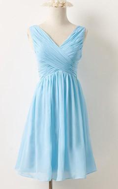 Mini V-neck Chiffon Dress