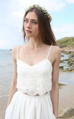 Chiffon Tulle Sequins Pleats Lace Wedding Dress