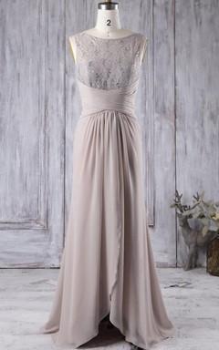 Chiffon&Lace Dress With Illusion