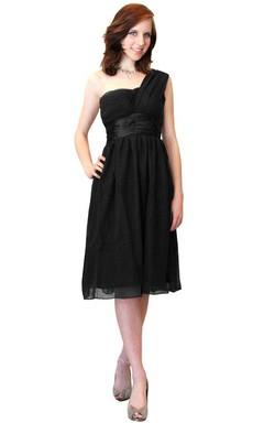 One-shoulder Knee-length Empire Chiffon Dress