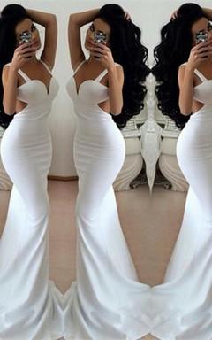 Modern White Mermaid Prom Dresses 2016 Backless Sleeveless